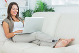 Cheerful woman lying on the sofa and using her laptop