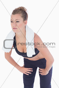 Woman looking strained