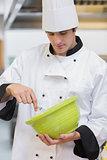 Chef whisking batter