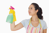 Young woman spraying cleaner