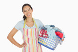 Happy woman with laundry basket