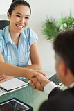 Smiling businesswoman shaking man's hand