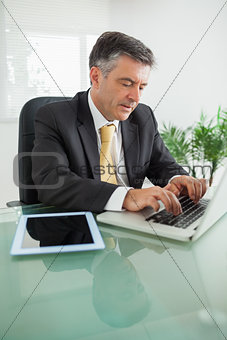 Concentrated business man working on laptop