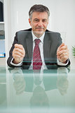 Smiling man with his virtual screen