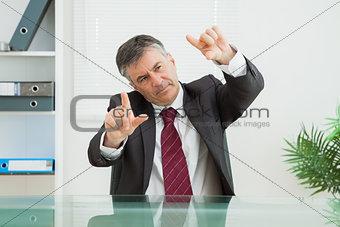 Business man calculating length