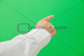 Hand pointing on the right