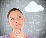 Woman with hand on chin thinking about cloud computing
