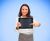 Businesswoman pointing on her digital tablet