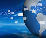 Email holograms moving past globe