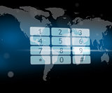 Number pad hologram on world map