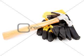Protective gloves and a hammer