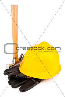 Hard hat protective gloves and hammer