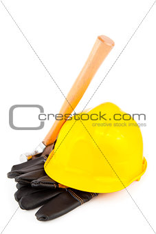 builder's gloves hammer and hard hat