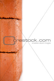 Edge of stack of bricks