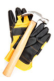 Hammer with pair of protective gloves
