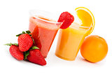 Strawberry smoothie and orange juice
