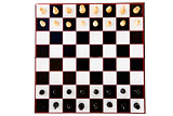 Black and white chess pieces standing