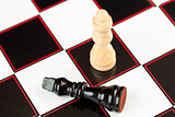 Black chess piece lying with white standing