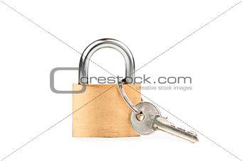 Padlock standing with key hanging