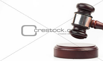 Gavel banging on sound block