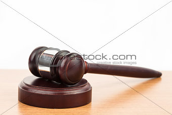 Hammer and gavel on desk