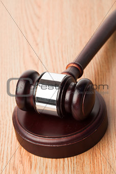 Gavel and a sound block on desk
