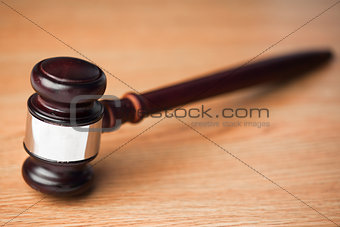 Wood gavel on desk