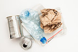 Plastic paper and metallic waste