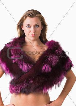 Blonde wearing a fur stole