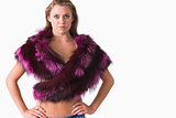 Topless woman in fur stole