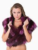 Woman wearing fur stole