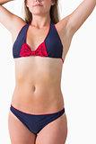 Navy and red bikini
