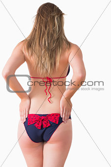 Woman at rear wearing bikini
