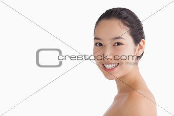 Smiling natural woman