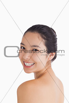 Cheerful woman smiling at camera