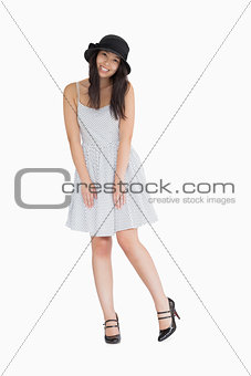 Smiling woman wearing polka dot dress