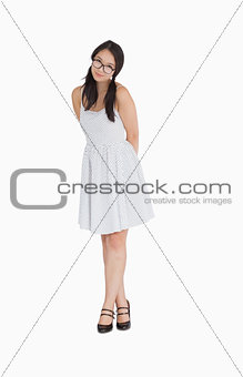 Woman in pigtails and polka dot dress