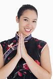 Happy woman in kimono