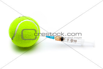 Tennis ball with a syringe