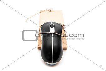 Black computer mouse in a mousetrap