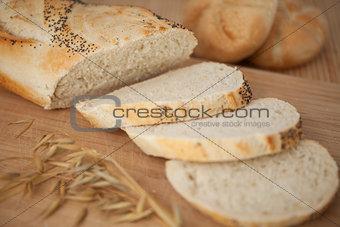 Sliced poppy seed baguette