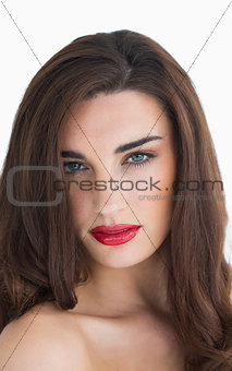 Woman with wavy hair and red lips