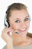 Smiling woman with a headset