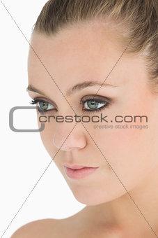 Blonde woman looking away