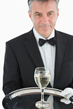 Waiter serving glass of wine on tray