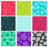 Seamless doodle patterns set