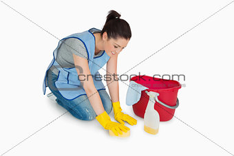Cleaning woman washing the floor