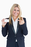 Business woman showing her card