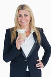 Business woman holding a coffee cup