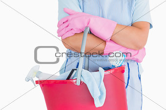 Cleaner holding a pink bucket